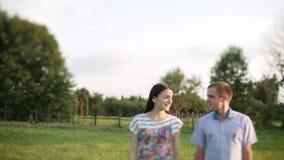 Любящие пары идя в поле, видеоматериал