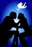 Любящие пары и купидон иллюстрация вектора