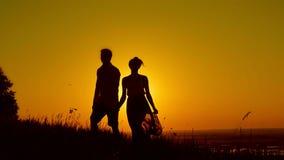 Любящие пары - молодой человек и красивая девушка идя на луг захода солнца - силуэт сток-видео