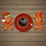Любящие пары печений пряника и кофейной чашки с сердцем s Стоковые Изображения RF