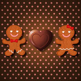 Любящие пары печений пряника и шоколада сердца бесплатная иллюстрация