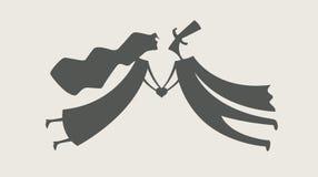 Любящие человек и женщина с сердцем иллюстрация вектора