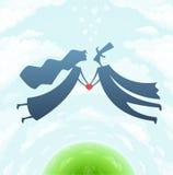 Любящие человек и женщина с сердцем Стоковые Изображения RF