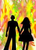 Любящие человек и женщина пар на абстрактной предпосылке Стоковое Изображение