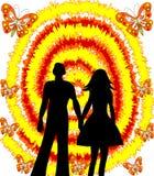 Любящие человек и женщина пар на абстрактной предпосылке Стоковое Изображение RF