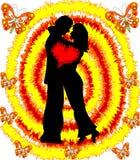 Любящие человек и женщина пар на абстрактной предпосылке Стоковое фото RF