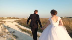 Любя бега пар вниз с дороги держа руки Концепция семьи жениха и невеста счастливая приключение свадьбы новобрачных невеста видеоматериал