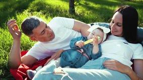 Любя семья с ребенком на одеяле на зеленой траве в саде лета сток-видео
