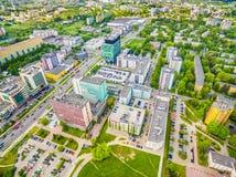 Люблин от воздуха Улицы Zana и Filaret Люблина зданий Стоковая Фотография RF