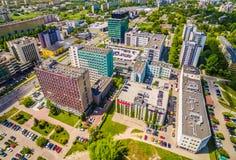 Люблин от воздуха Улицы Zana и Filaret Люблина зданий Стоковые Фото