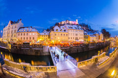 Любляна во времени рождества Словения, Европа стоковые фотографии rf