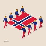 8 людей держат большой флаг Стоковая Фотография