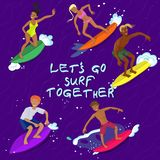 5 людей занимаясь серфингом на изображении вектора волны иллюстрация вектора