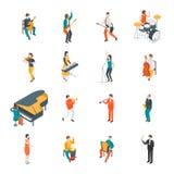Людей музыкантов характеров взгляд 3d различных установленный равновеликий вектор иллюстрация штока