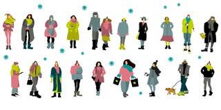 Люди большой зимы установленные бесплатная иллюстрация