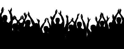 Люди веселя, руки толпы приветственного восклицания вверх Аудитория рукоплескания иллюстрация вектора