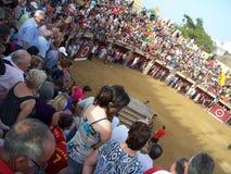 Люди в арене быка в del mar Oropesa Стоковые Изображения