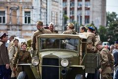 Люди в военной форме в честь праздника дня победы Стоковая Фотография