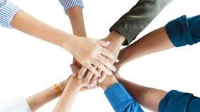 Люди в изоляте встречи руки команды гармоничном стоковое фото