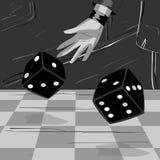 Люди в кости казино бросая иллюстрация вектора