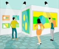 Люди в музее изобразительных искусств иллюстрация штока
