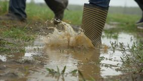 Люди в резиновых ботинках на том основании Ноги в лужице дождя резиновых ботинок Люди в резиновых ботинках идут через лужицу стоковое фото