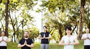 Люди делая йогу на парке Стоковые Изображения RF