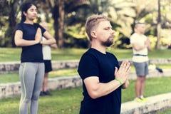 Люди делая йогу на парке Стоковое Изображение RF