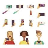 Люди делая selfie Различные инструменты и аксессуары для фото собственной личности на smartphone иллюстрация штока