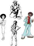 люди диско в стиле фанк Стоковые Фотографии RF