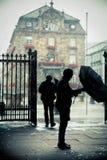 Rainy Day Scene Silhouetted People Стоковое Изображение RF