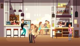 Люди есть обед в интерьере бара кафа Плоская иллюстрация вектора иллюстрация вектора