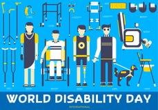 Люди заботы с неработающей концепцией иллюстрации Плоские значки дня инвалидности мира установили иллюстрации Элементы вектора дл Стоковые Фотографии RF
