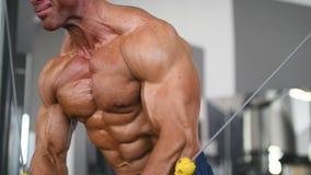 Люди зверского сильного культуриста атлетические нагнетая вверх muscles с гантелями видеоматериал