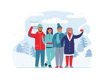 Люди зимних отдыхов на лыжном курорте Счастливые характеры принимая Selfie с Smartphone женщина человека шаржа иллюстрация штока