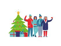Люди зимних отдыхов с рождественской елкой Счастливые характеры принимая Selfie с Smartphone женщина человека шаржа иллюстрация штока