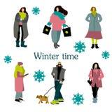 Люди зимы установленные на улице снега иллюстрация штока