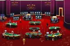 Люди играя в азартные игры в иллюстрации казино Стоковая Фотография RF
