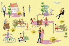 Люди идя и иметь остатки на открытом воздухе в парке лета в плоском стиле иллюстрация штока