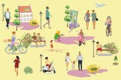 Люди идя и иметь остатки на открытом воздухе в парке лета в плоском стиле иллюстрация вектора
