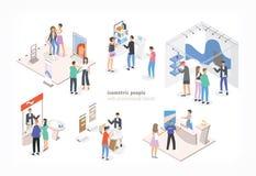 Люди идя среди коммерчески выдвиженческих стоек и говоря к консультантам и промоутеры рекламируя продукты или иллюстрация штока