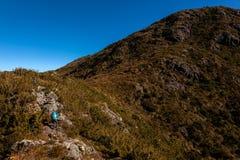 Люди идя с большими рюкзаками в ландшафте горы - trekking пеший mountaneering в ряде Бразилии mantiqueira стоковое фото rf