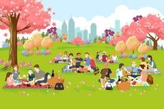 Люди имея пикник на парке во время весны иллюстрация вектора