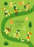 Люди используя личный зеленый переход Стоковое Изображение
