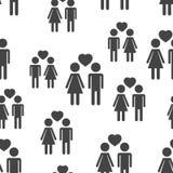 Люди и женщина с предпосылкой картины сердца безшовной Дело f Стоковые Изображения