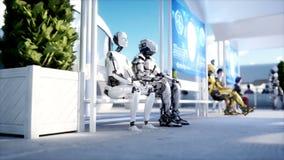 Люди и роботы Станция Sci fi Футуристический переход монорельса Концепция будущего Реалистическая анимация 4K иллюстрация вектора