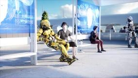 Люди и роботы Станция Sci fi Футуристический переход монорельса Концепция будущего перевод 3d иллюстрация штока