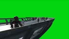 Люди и роботы Tonnel Sci fi Футуристическое движение Концепция будущего Зеленый отснятый видеоматериал экрана Реалистическая аним бесплатная иллюстрация