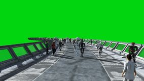 Люди и роботы Tonnel Sci fi Футуристическое движение Концепция будущего Зеленый отснятый видеоматериал экрана Реалистическая аним иллюстрация штока