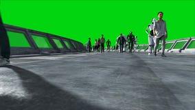 Люди и роботы Tonnel Sci fi Футуристическое движение Концепция будущего Зеленый отснятый видеоматериал экрана Реалистическая аним иллюстрация вектора